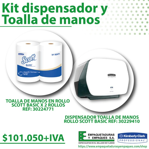 [ME1005048] Kit dispensador y  Toalla de manos